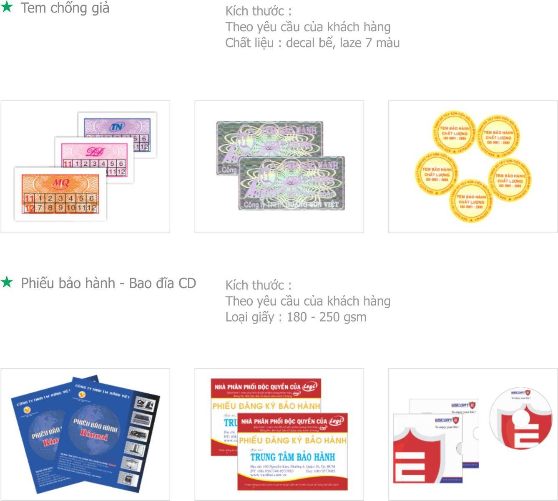 Tem chống giả - Phiếu bảo hành - Bao đĩa CD